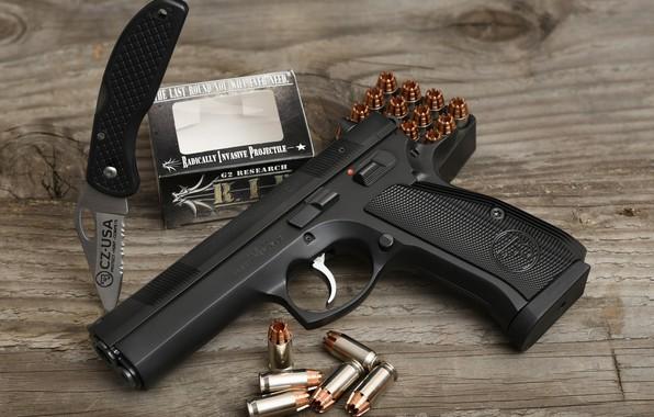 Picture gun, knife, cartridges, CZ 97B