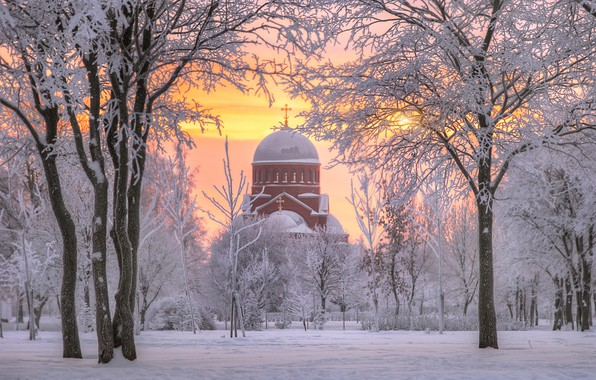 Picture winter, snow, trees, dawn, morning, Saint Petersburg, temple, Russia, Murinsky Park, The Church Of The …