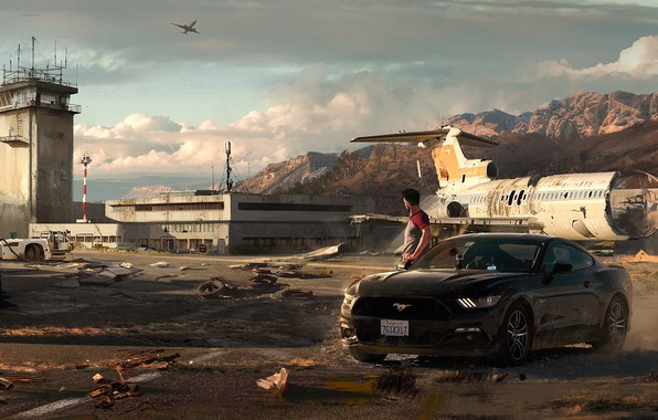 Picture auto, ford mustang, art, the airfield, Need for Speed: Payback
