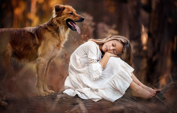 Picture mood, dog, girl