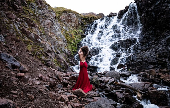 Picture girl, pose, stones, mood, rocks, back, waterfall, figure, red dress, cascade