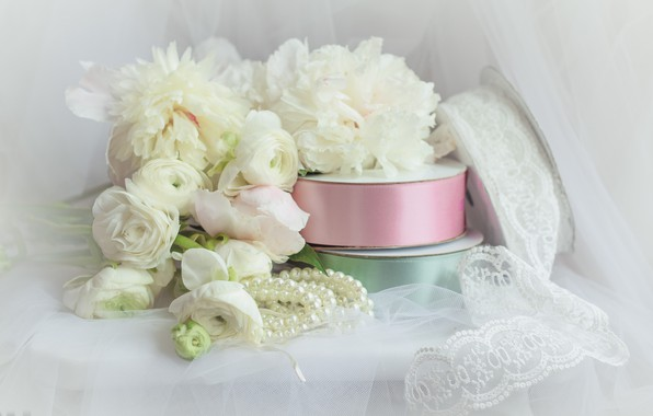 Picture flowers, style, tape, bouquet, beads, veil, lace