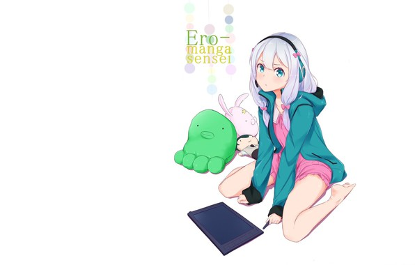 Picture headphones, girl, white background, blue eyes, tablet, white hair, on my knees, soft toys, EroManga-Sensei, …