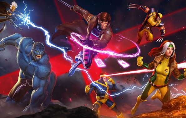 Picture The game, Fire, Lightning, Card, Storm, Sword, Heroes, The storm, Wolverine, Logan, Heroes, Beast, Claws, …