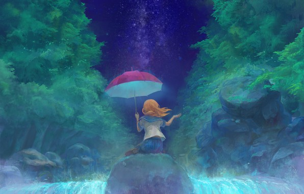 Picture the sky, night, back, waterfall, umbrella, girl, red, schoolgirl, The Milky Way, on the stone, …