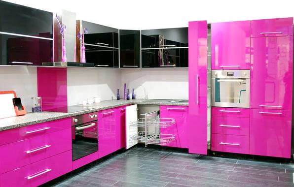 Wallpaper Design Kitchen Kitchen Pink Cabinets Design