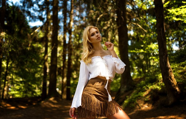 Picture look, the sun, trees, pose, model, skirt, portrait, makeup, figure, hairstyle, blonde, blouse, beauty, photoshoot, …