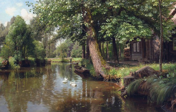 Picture 1914, Danish painter, Peter Merk Of Menstad, Peder Mørk Mønsted, Danish realist painter, Floating down …