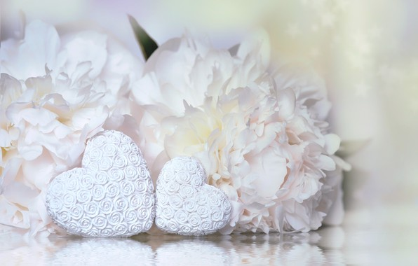 Picture Flowers, Hearts, Pair, Holiday, Valentine's day, Peonies