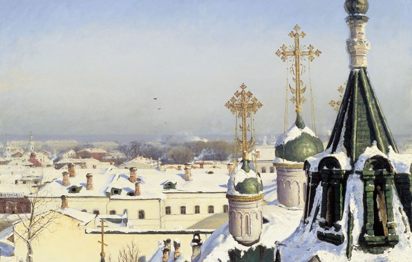 Picture winter, crosses, oil, temple, Canvas, 1878, sculpture and architecture, From the window of the Moscow …