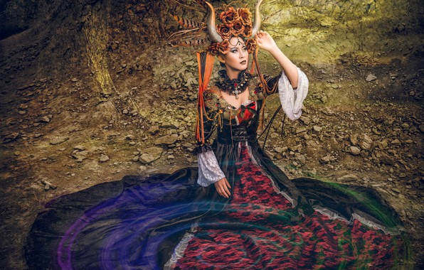 Picture pose, style, model, dress, outfit, horns, Asian, headdress