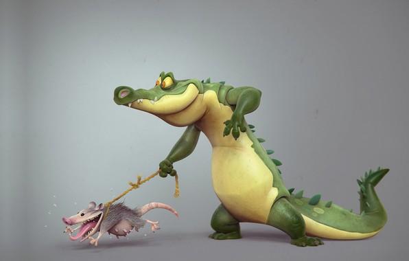 Picture rendering, crocodile, walk, possum, rope, Borislav Kechashki, Back to the roots