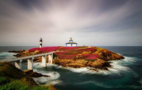 Picture sea, lighthouse, Spain, Spain, Galicia, Isla Pancha