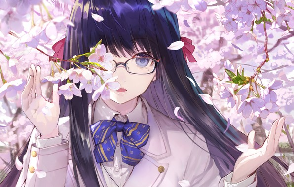 Picture branches, face, spring, hands, Sakura, glasses, girl, schoolgirl, bow, flowering, long hair, bangs