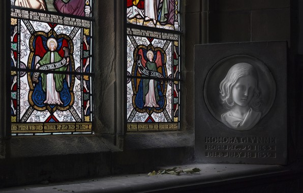 Picture girl, memory, portrait, window, stained glass, the plaque, H O N O R A, a …
