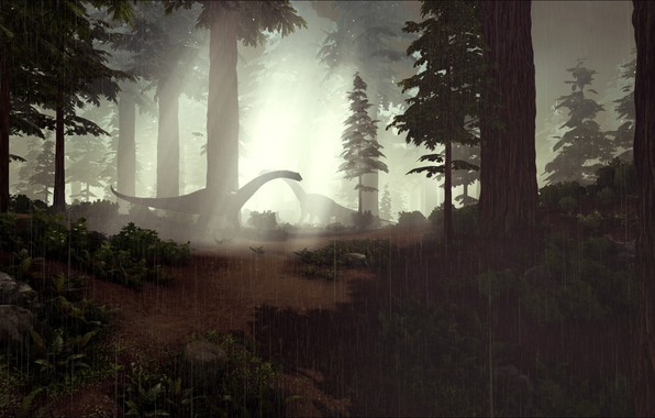 Picture game, forest, rain, ARK Survival Evolved