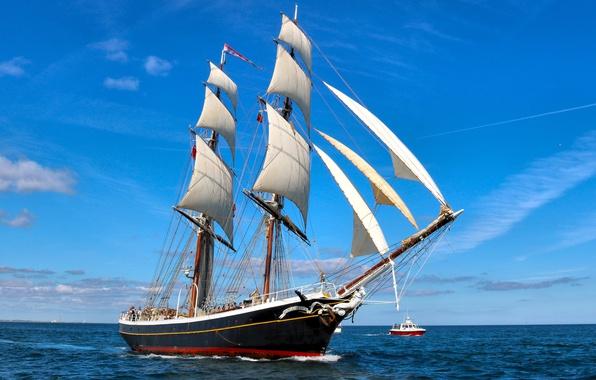 Picture sea, sailboat, boat, brig, North sea, Brig Morgenster