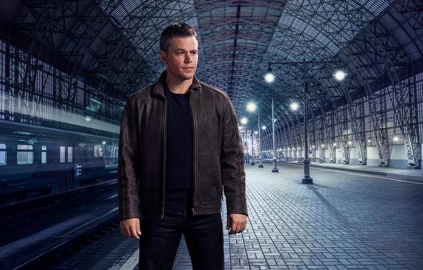 Picture rails, station, train, jacket, the platform, railroad, actor, Matt Damon, photoshoot, Matt Damon, for the …
