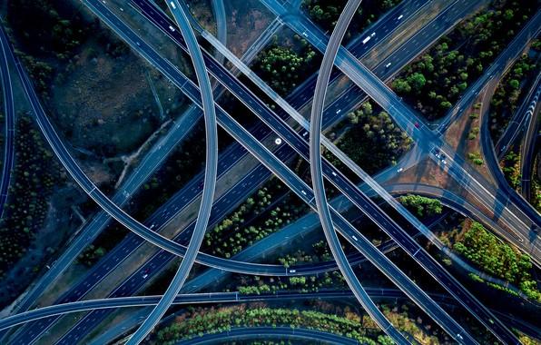 Picture machine, road, crossroads