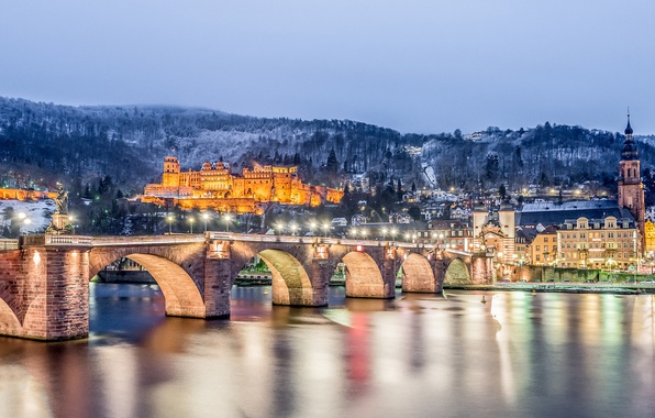 Picture winter, mountains, bridge, river, castle, building, Germany, night city, Germany, Old bridge, Baden-Württemberg, Baden-Württemberg, Heidelberg, …