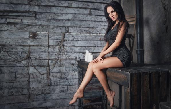 Picture girl, pose, tree, model, dress, brunette, chair, shelf, legs, sexy, beautiful, the beauty, sitting, studio, …
