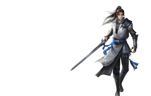 Picture the game, minimalism, sword, warrior, fantasy, art, guy, Asura Online