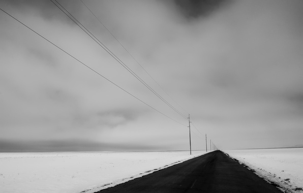 Picture winter, road, field, snow, nature, perspective, power lines
