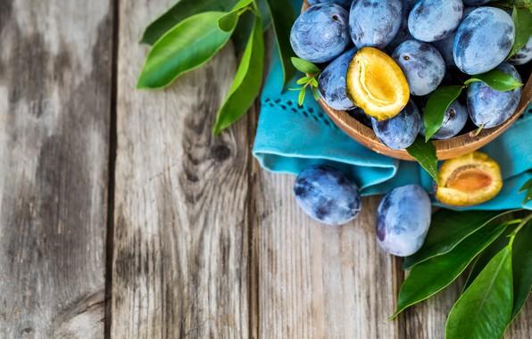 Picture leaves, fruit, plum, halves