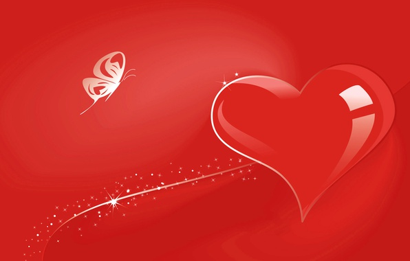 Picture butterfly, heart, vector, postcard, Valentine's Day