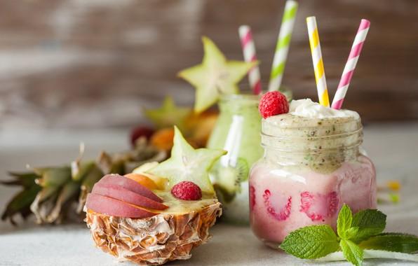 Picture berries, raspberry, kiwi, drink, fruit, pineapple, banana, smoothies