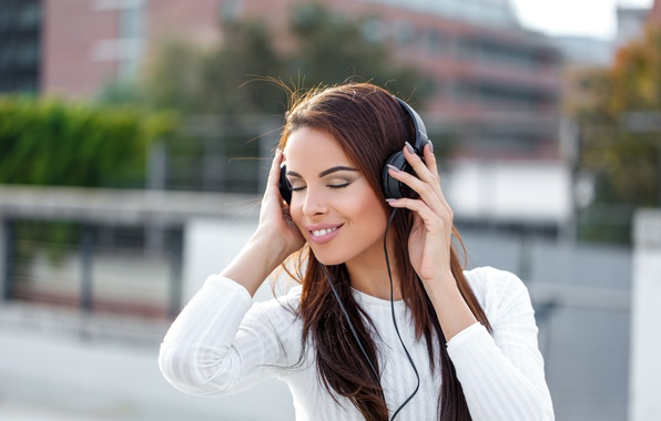 Photo wallpaper music, female, headphones