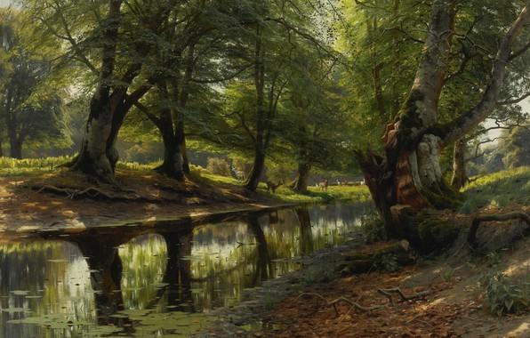 Picture trees, landscape, nature, picture, Peter Merk Of Menstad, Peder Mørk Mønsted, The stream in the …