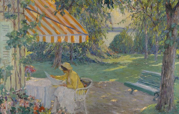 Picture girl, picture, bench, Edward Cucuel, Edward Cucuel, Summer on Lake Starnberg