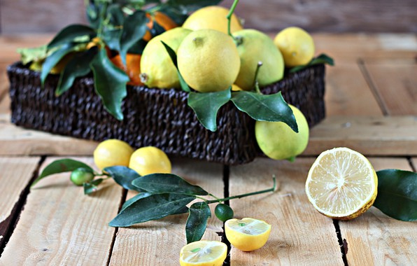 Picture box, citrus, wood, lemons