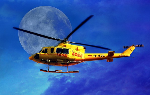 Picture the sky, The moon, helicopter, blades