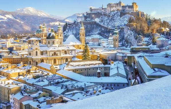 Picture winter, snow, castle, building, mountain, home, Austria, panorama, fortress, Austria, Salzburg, Salzburg, Church, Salzburg Cathedral, …