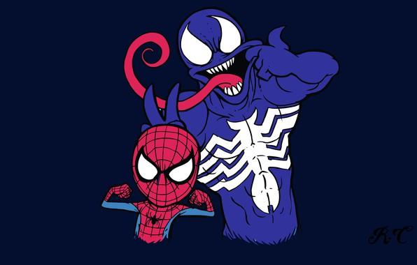 Picture humor, art, art, comic, marvel, Marvel Comics, Spider-Man, Venom, Venom, Spider-Man, Symbiote