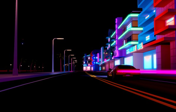 Picture Auto, Road, Night, Music, The city, Neon, Machine, Background, Electronic, Synthpop, Darkwave, Synth, Retrowave, Synth-pop, …