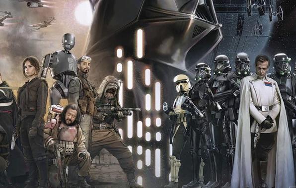 Picture cinema, Star Wars, Darth Vader, robot, man, movie, film, Stormtroopers, Death Star, blaster, Rogue One: …