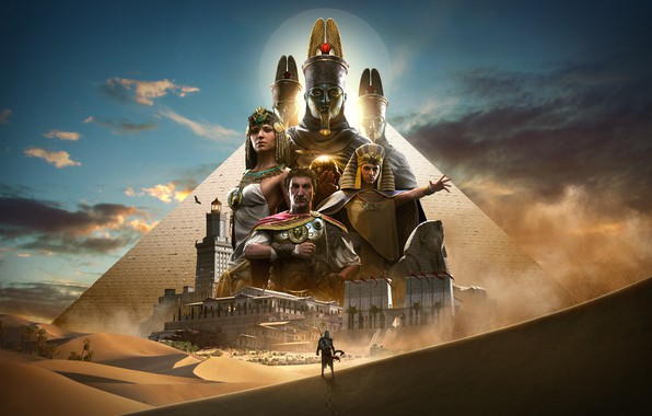Picture fantasy, game, desert, Egypt, Ubisoft, Assassin's Creed, palm trees, digital art, artwork, oasis, fantasy art, ...