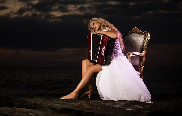 Picture girl, mood, chair, dress, accordion