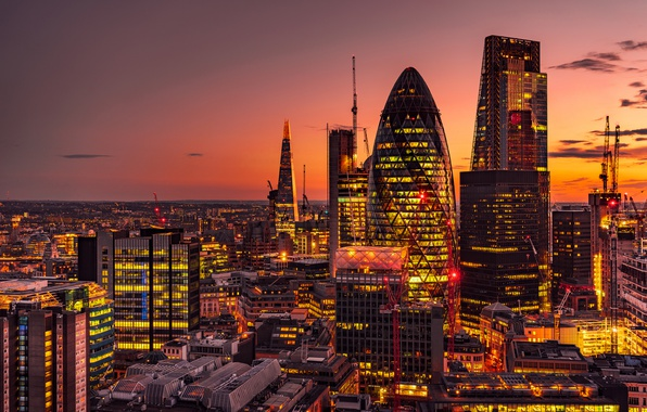 Picture sunset, England, London, building, panorama, night city, skyscrapers, London, England, 30 St Mary Axe, The …