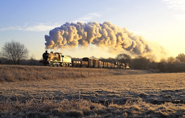 Photo wallpaper train, the engine, railroad