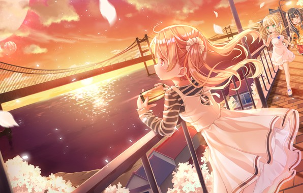 Picture Sunset, Bridge, Children, Promenade, Girls, Smartphone