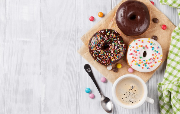 Picture donuts, coffee, a Cup of coffee, donuts, paguri