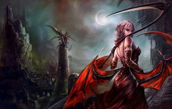 Picture dark, demon, girl, moon, fantasy, tower, dress, night, wings, angel, artwork, fantasy art, sickle, bare …