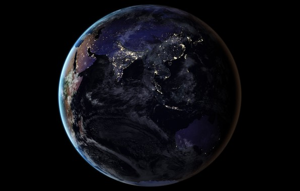 Picture lights, planet, Earth, Asia, The Indian ocean