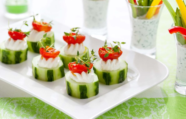 Picture cucumber, vegetables, tomato, appetizer
