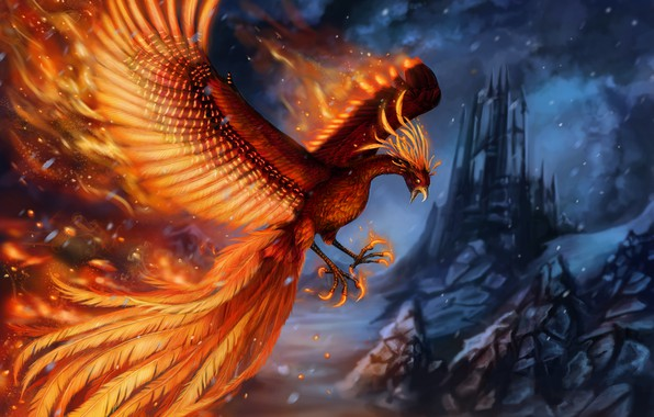 Picture castle, rocks, flame, bird, wings, fantasy, art, Phoenix