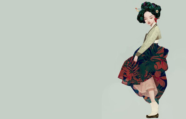 Picture girl, art, geisha, Korean geisha, Siwo Believes Kim